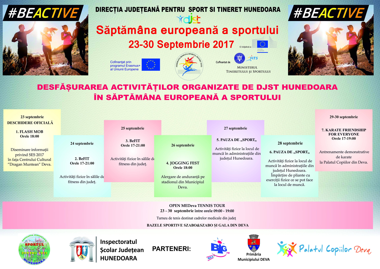Săptămâna Europeană a Sportului - 23 - 30 septembrie 2017